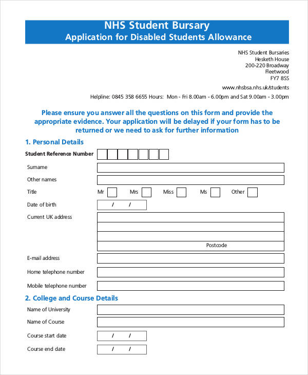 student bursary allowance application form