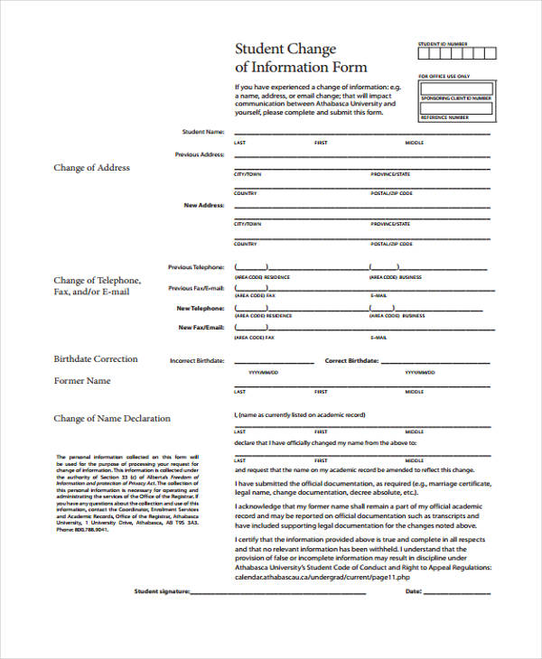 student change of information form