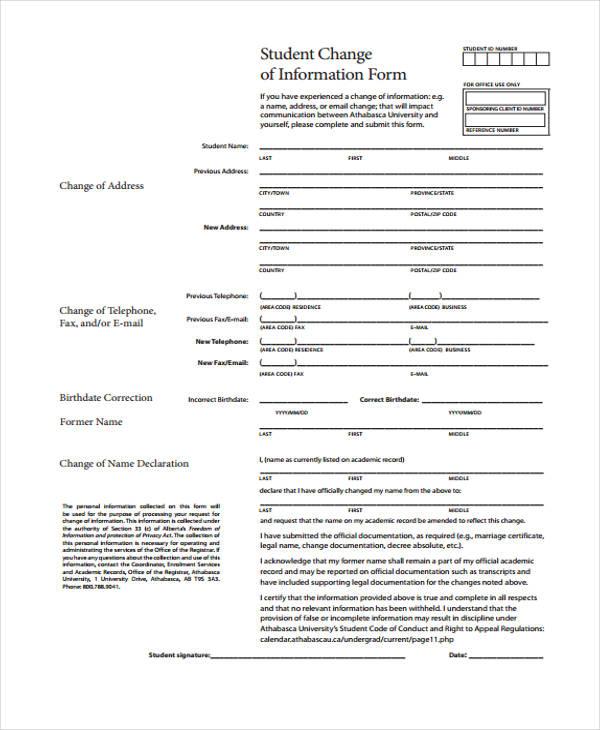 student change of information form1