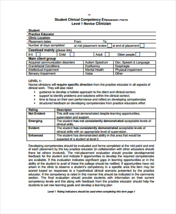 student clinical competency evaluation form