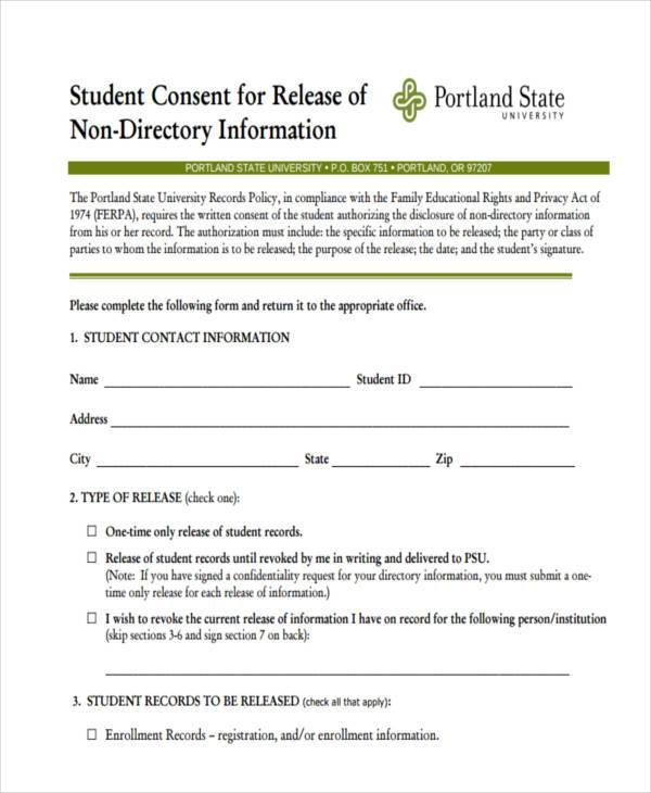 student consent to release form