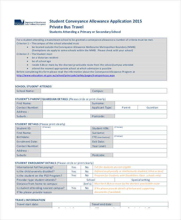 student conveyance allowance application form