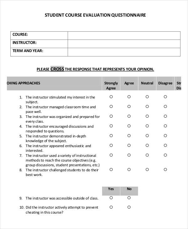 Course Evaluation Template. Free Course Outline Example Download