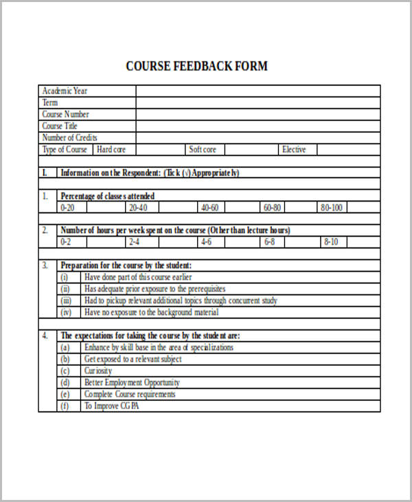 student course feedback form example