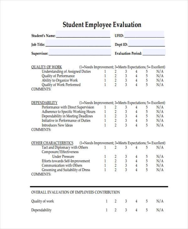 student employee evaluation