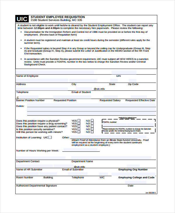 student employee requisition form
