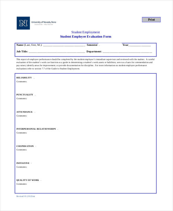 student employment employee evaluation form2