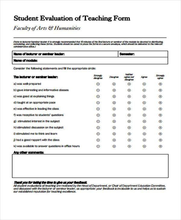 student evaluation form for teachers