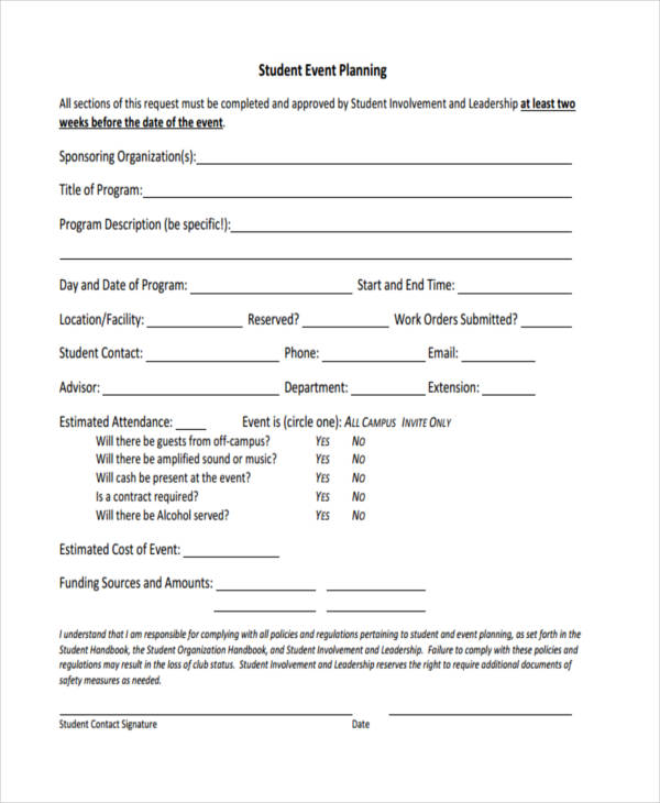 Event Planner Contract Student Event Planning Form Sample Event