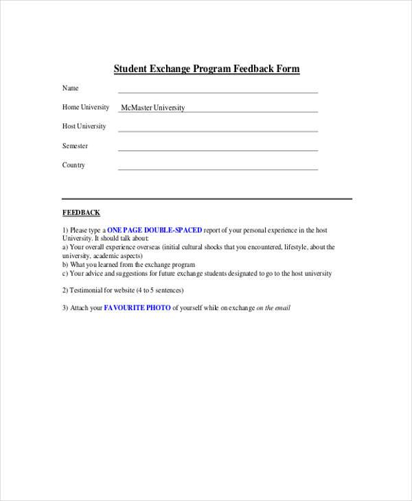 student exchange program feedback form