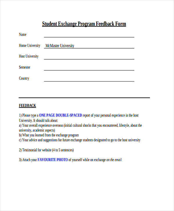 student exchange program feedback form1