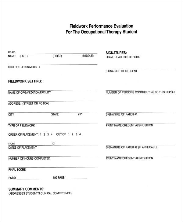student field work evaluation form1