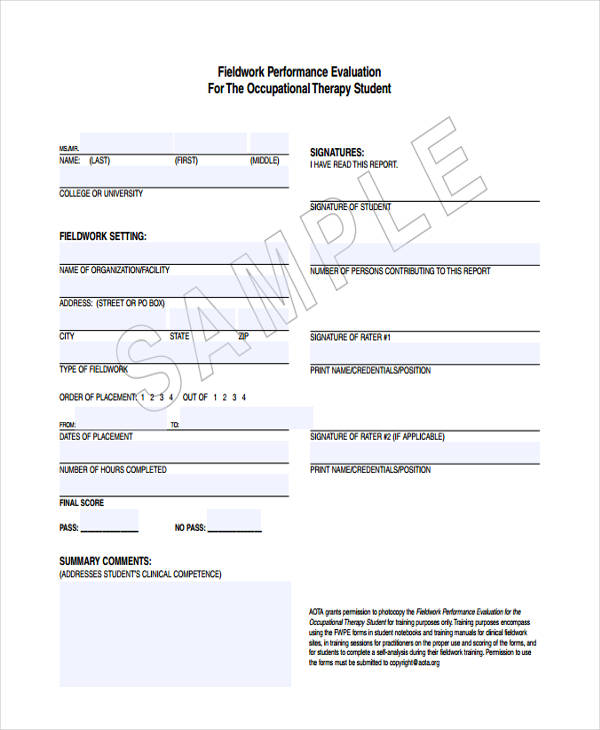 student fieldwork performance evaluation form