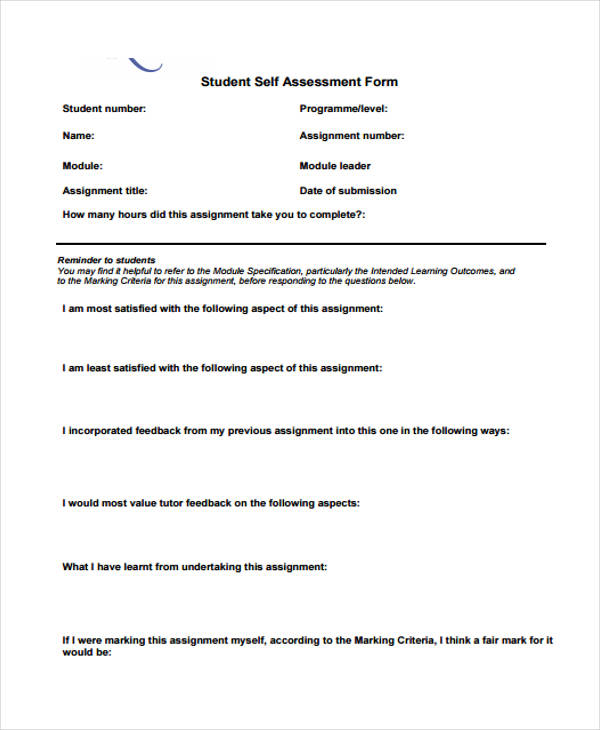self assessment essay format
