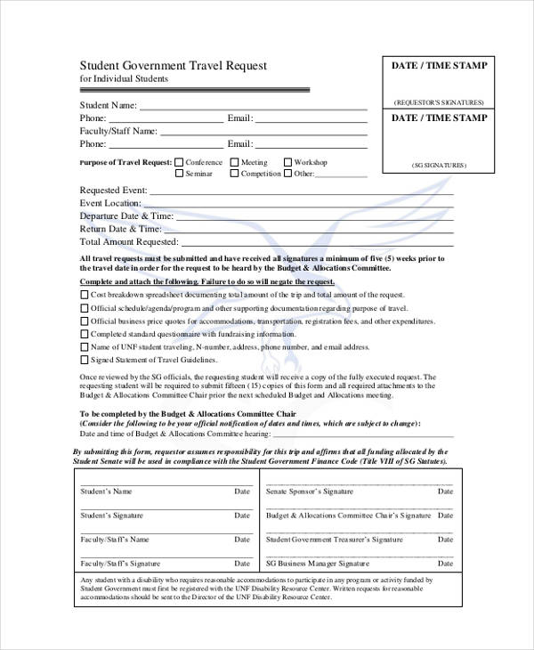 student government travel request form