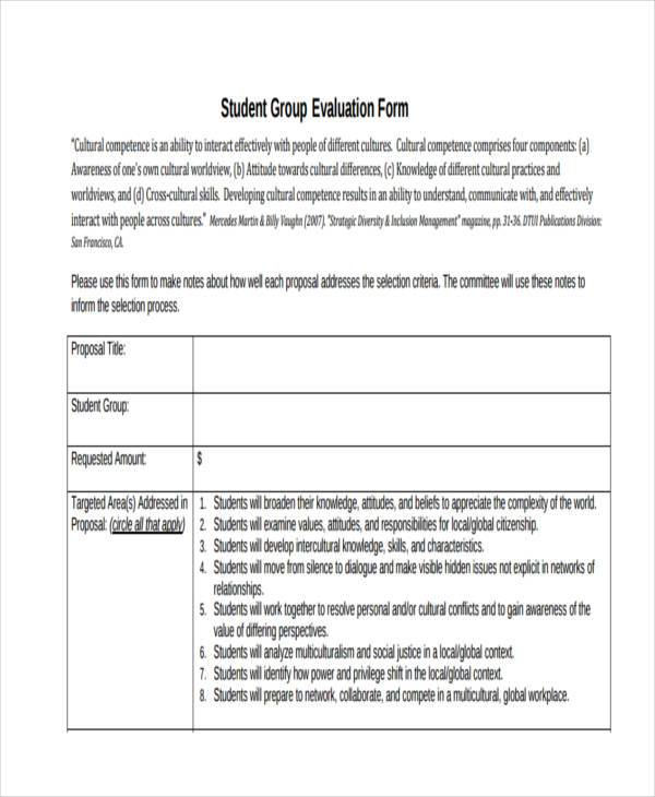 student group evaluation form