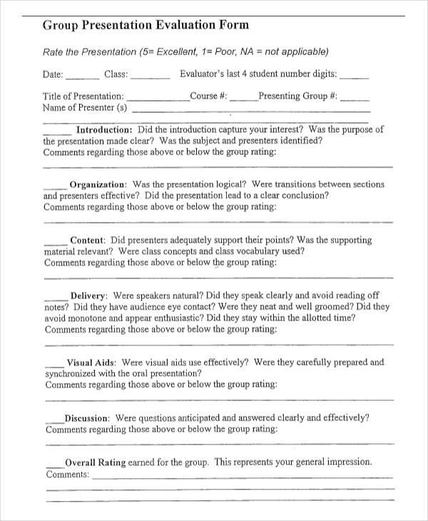 student group presentation evaluation form