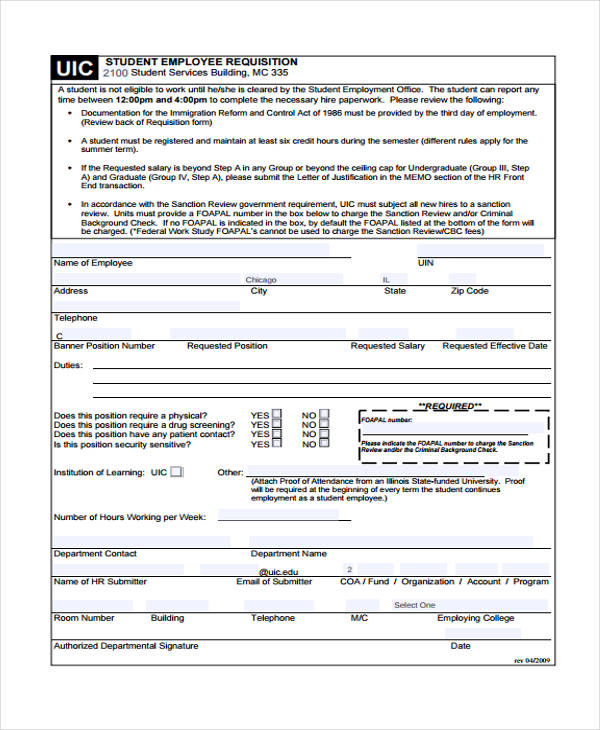 Wonderful Student Employee Requisition Form