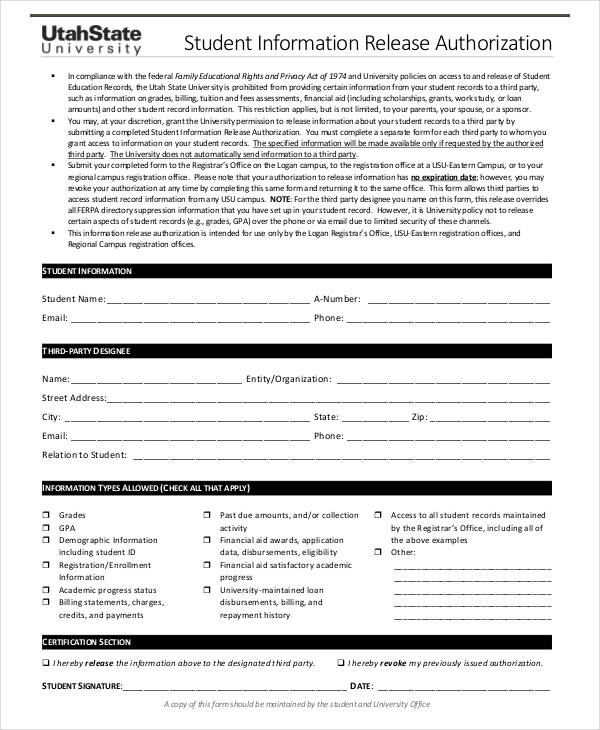 student information release authorization form