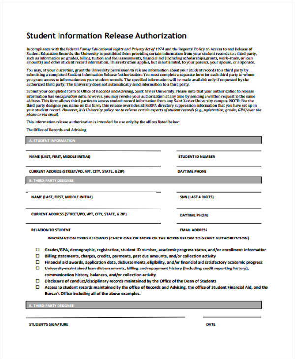 student information release authorization form2
