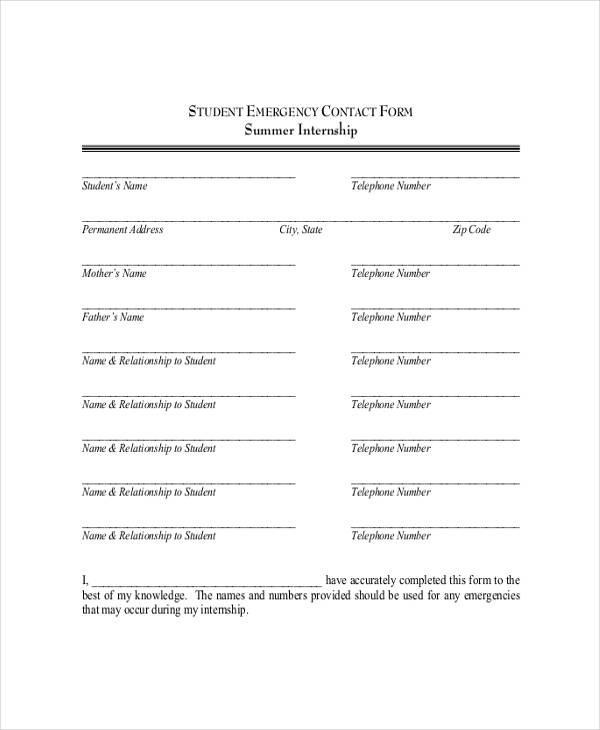 student internship emergency contact form