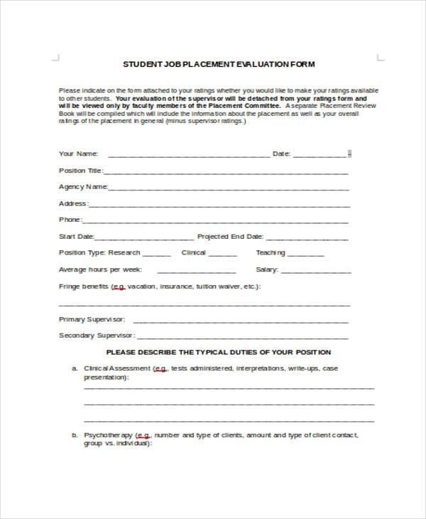 student job placement evaluation form