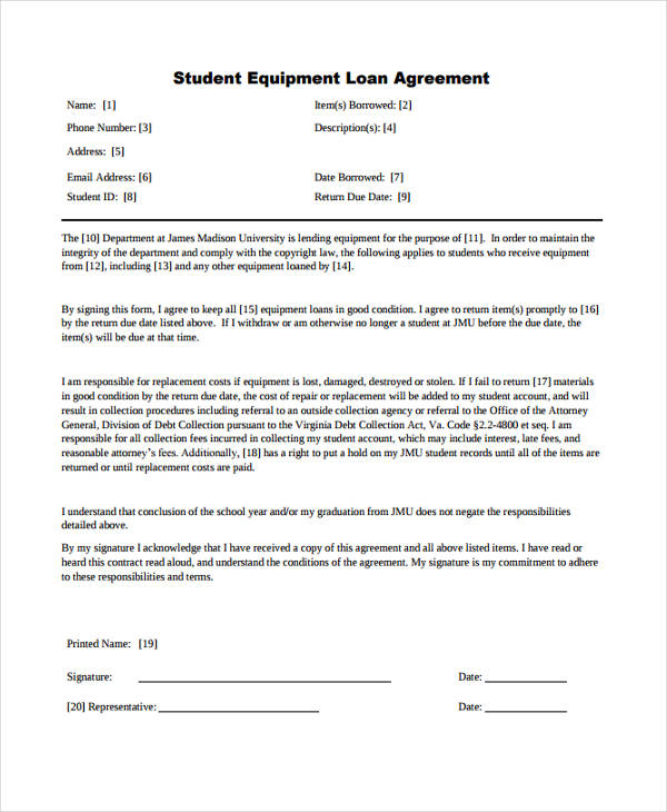 student loan agreement sample