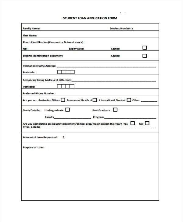 Application Forms Format – Students Loan Application Form