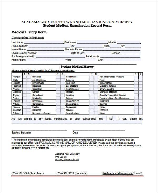 student medical examination record form