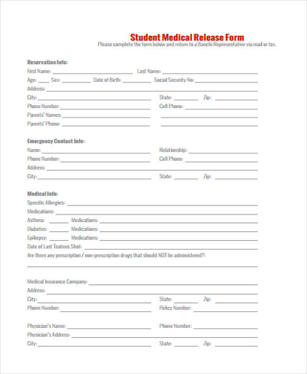 student medical release form in pdf