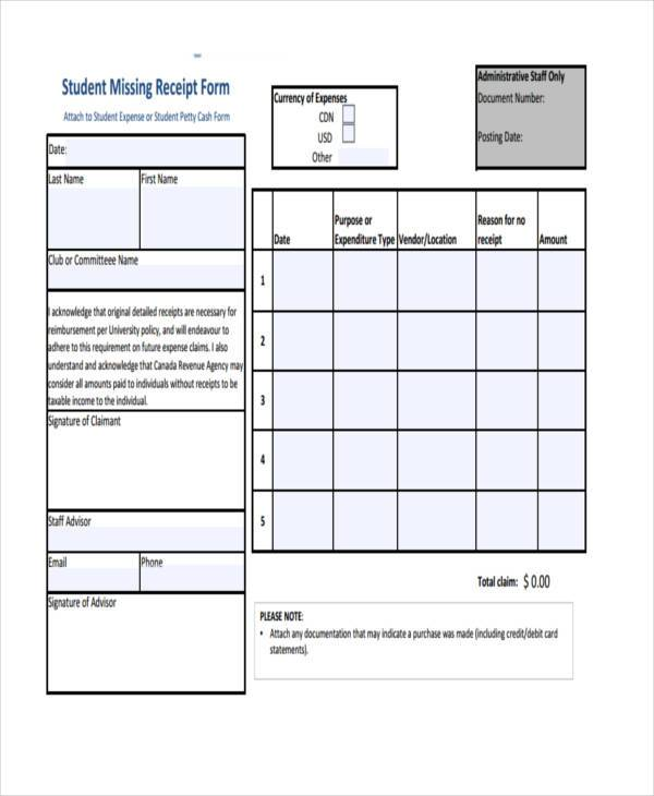 student missing receipt form