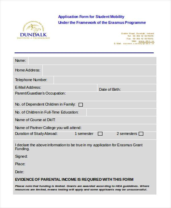 student mobility application form