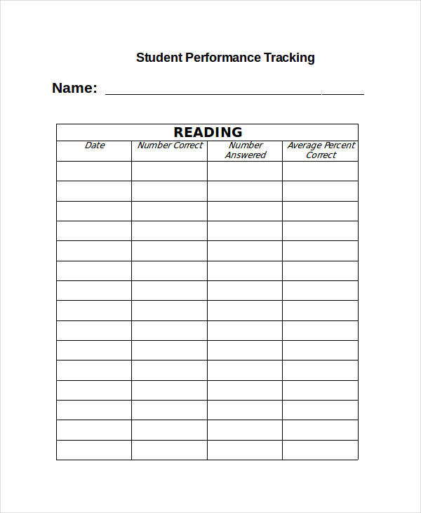 student performance tracking form