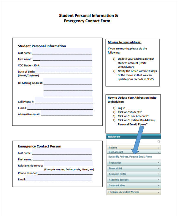 student personal emergency contact form