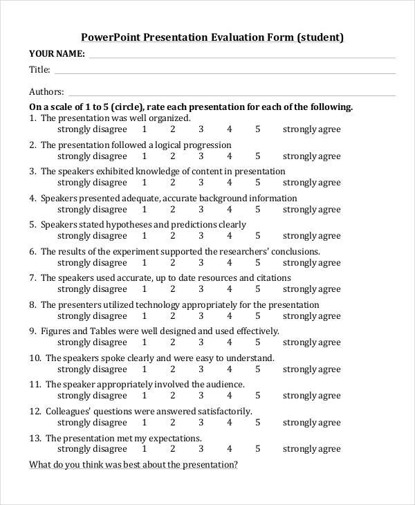 Student evaluation form template for Presenter evaluation form template