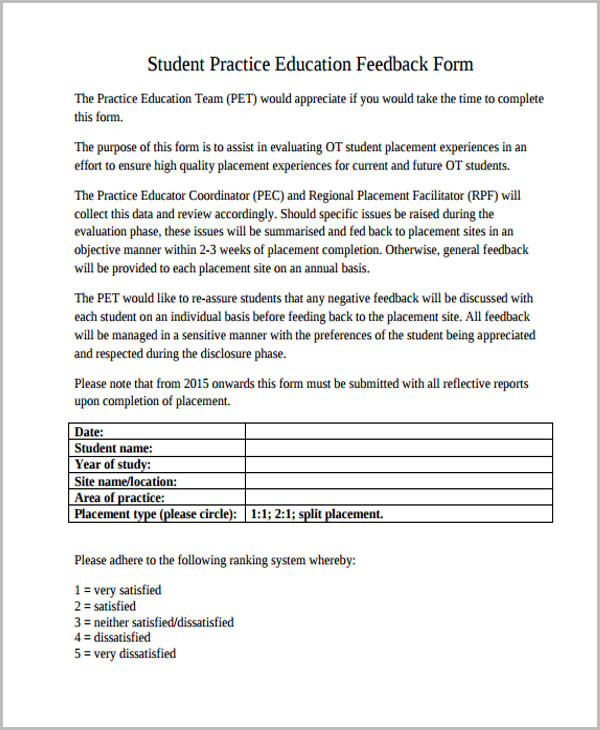 student practice education feedback form