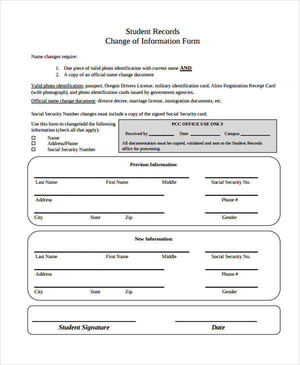 Change Form in PDF – Official Change of Address Form