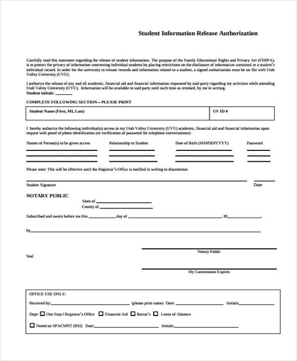 student release authorization form