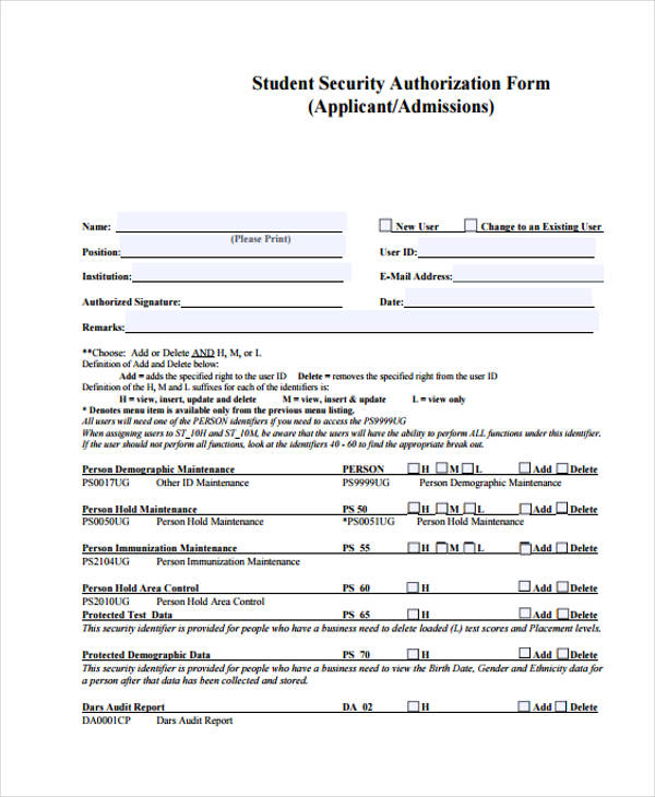student security authorization form