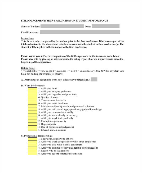 student self evaluation templates - 21 sample self evaluation forms
