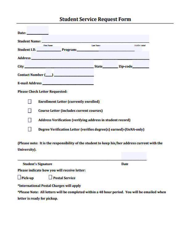 Letter Request Form Request Forms In Pdf Student Request Form Doc
