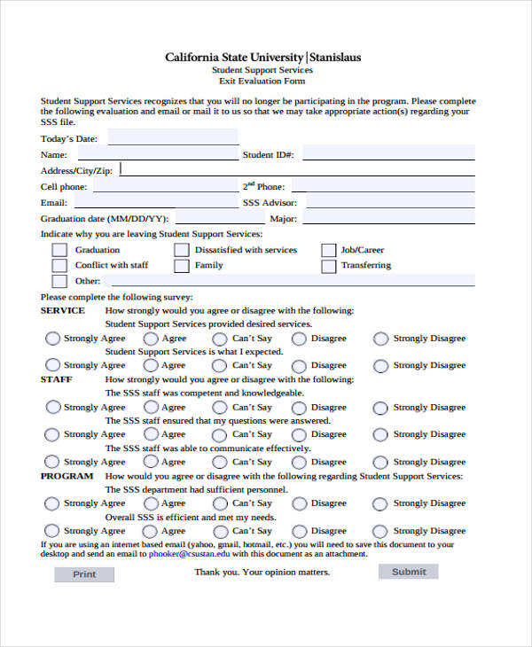 student support services exit evaluation form