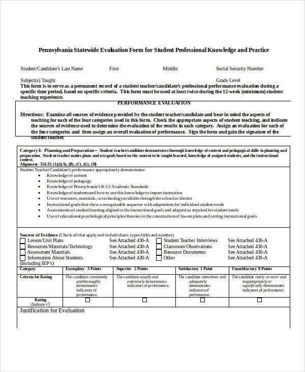 Teacher Evaluation Form Example