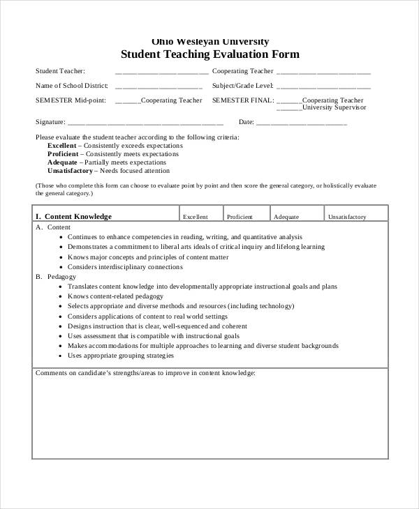 student teacher evaluation form in pdf