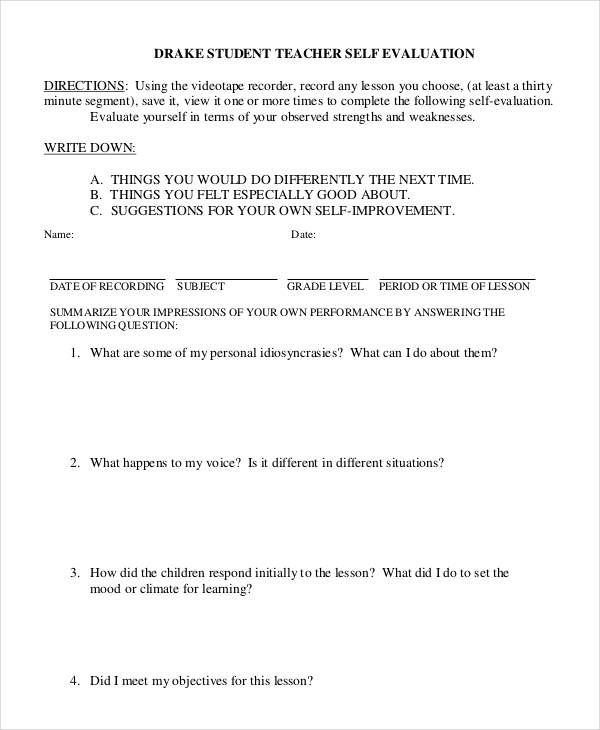 student teacher self evaluation form