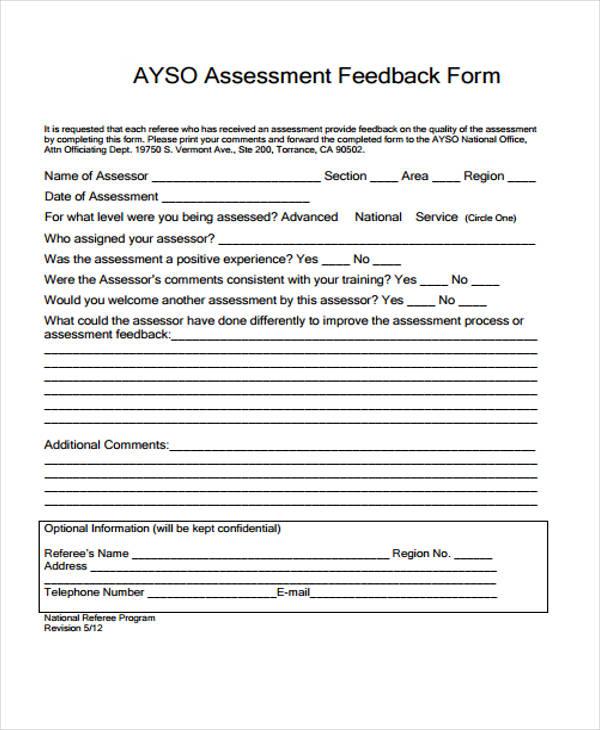 student teaching assessment feedback form