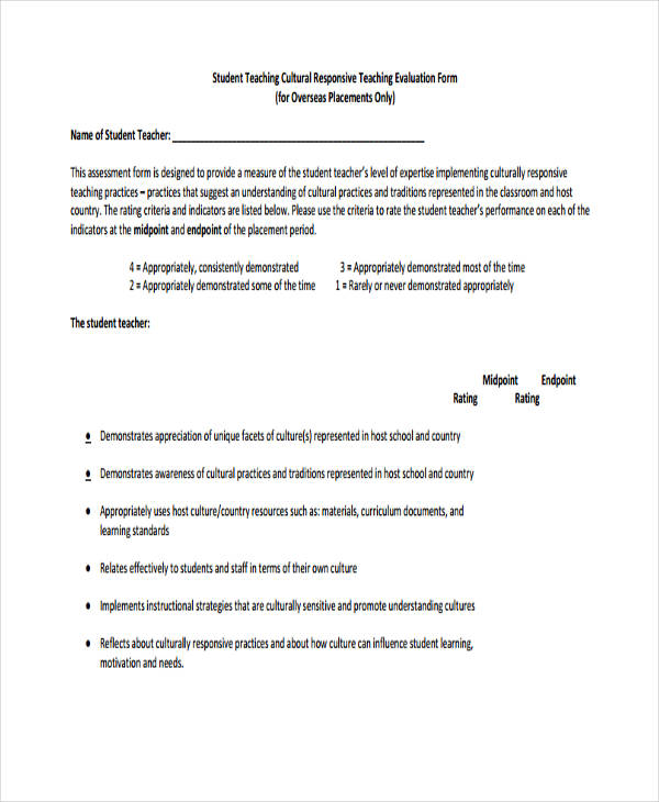 Teaching Evaluation Form