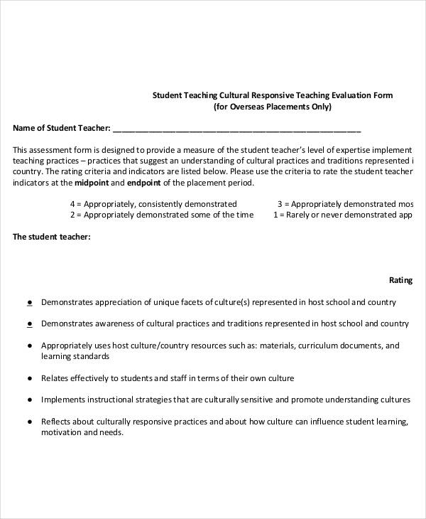 student teaching cultural evaluation form3