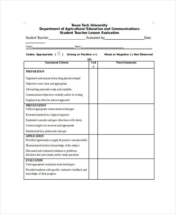 Student Evaluation Form in Doc – Teacher Evaluation Form