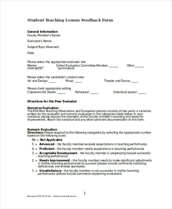 Student Feedback Forms In Doc